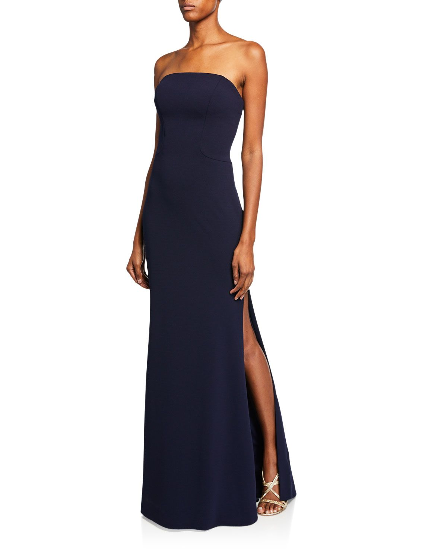91400cd2dcd19 Faviana Navy Blue Strapless Bustier Strap-Back Column Gown | Dresses ...