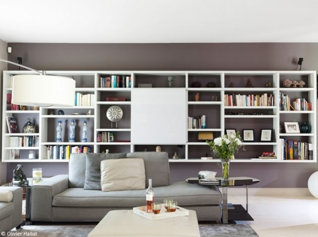 bibliotheque suspendue avec tv pour le salon deco salon. Black Bedroom Furniture Sets. Home Design Ideas