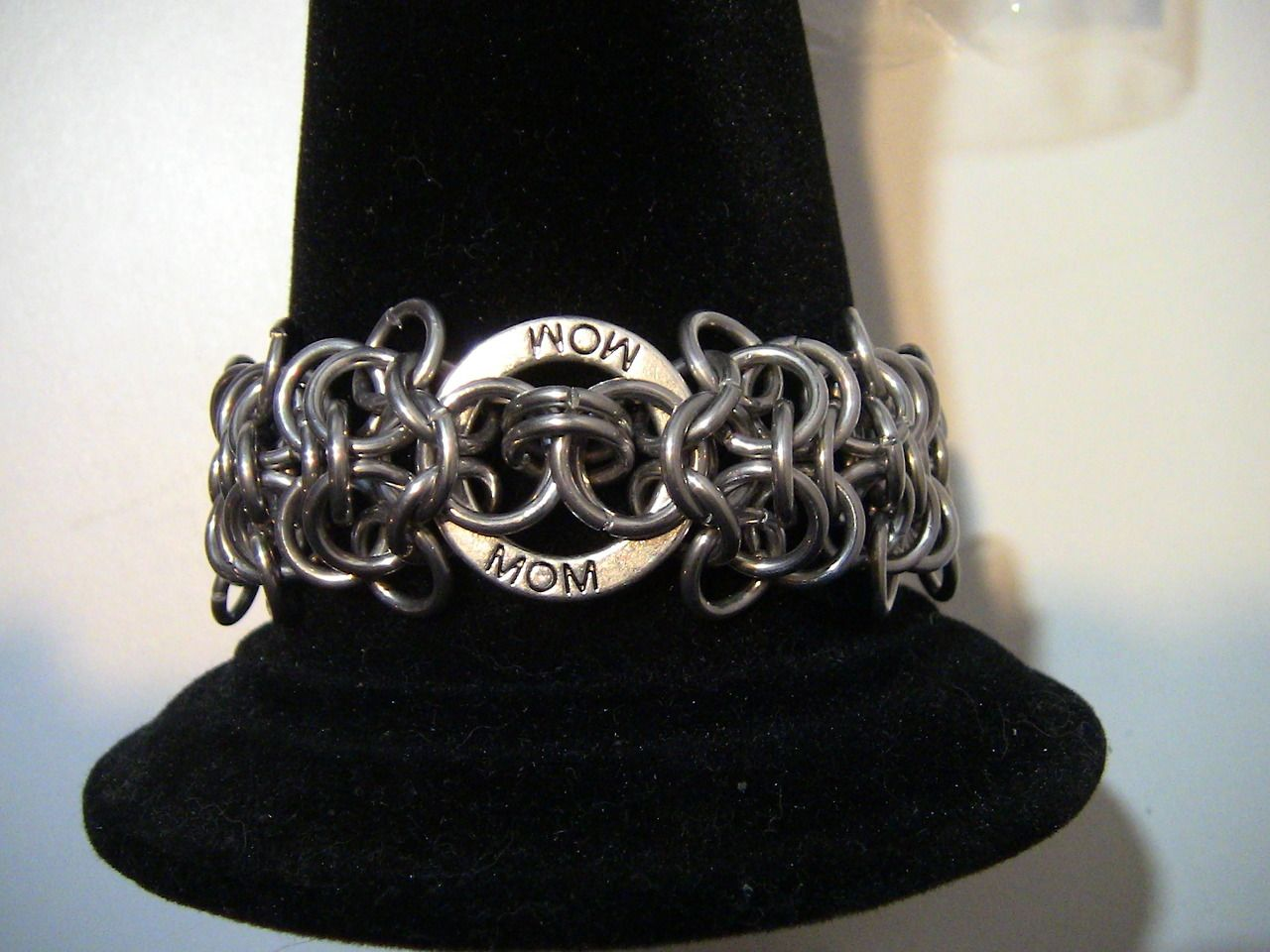 Some Mom love! Aluminum chainmail bracelet w/ toggle clasp
