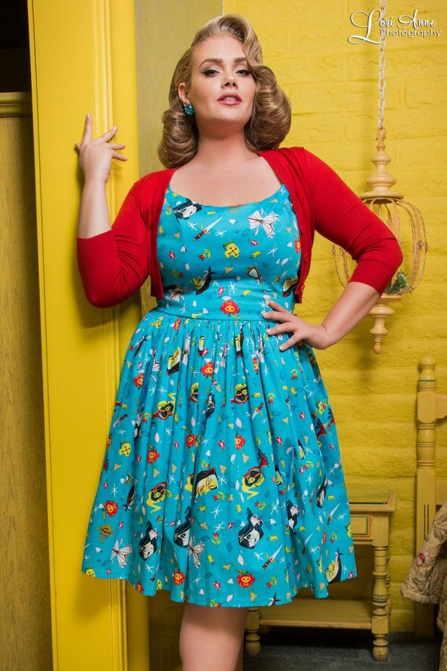 Pinup Couture - Jenny Dress in Snow White Print - Plus Size ...