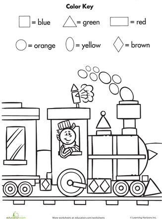 Worksheets Color By Shape Train Preschool Math Kindergarten Worksheets Shapes Worksheets