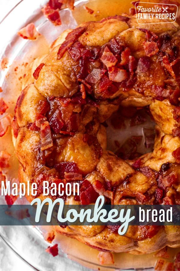 This Maple Bacon Monkey Bread is SO deliciously gooey and good! The soft dough bites are drenched in a yummy maple syrup sauce and crispy pieces of bacon. #maplebaconmonkeybread #maple #maplebacon #bacon #baconrecipe #monkeybread #bread #breakfast #breakfastrecipe #FavoriteFamilyRecipes #favfamilyrecipes #FavoriteRecipes #FamilyRecipes #recipes #recipe #food #cooking #HomeMade #RecipeIdeas via @favfamilyrecipz