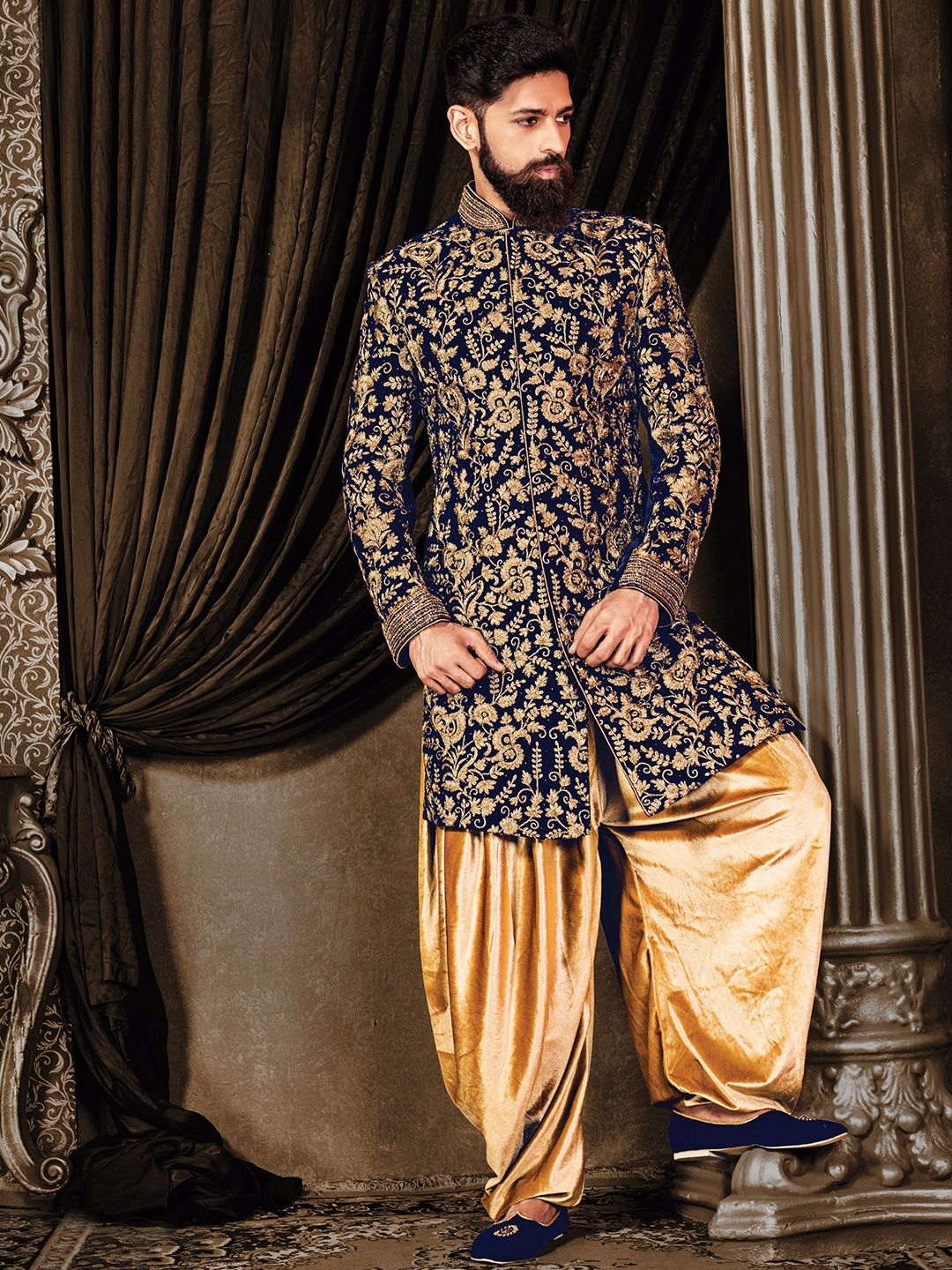 Navy velvet wedding wear indo western view more collection at