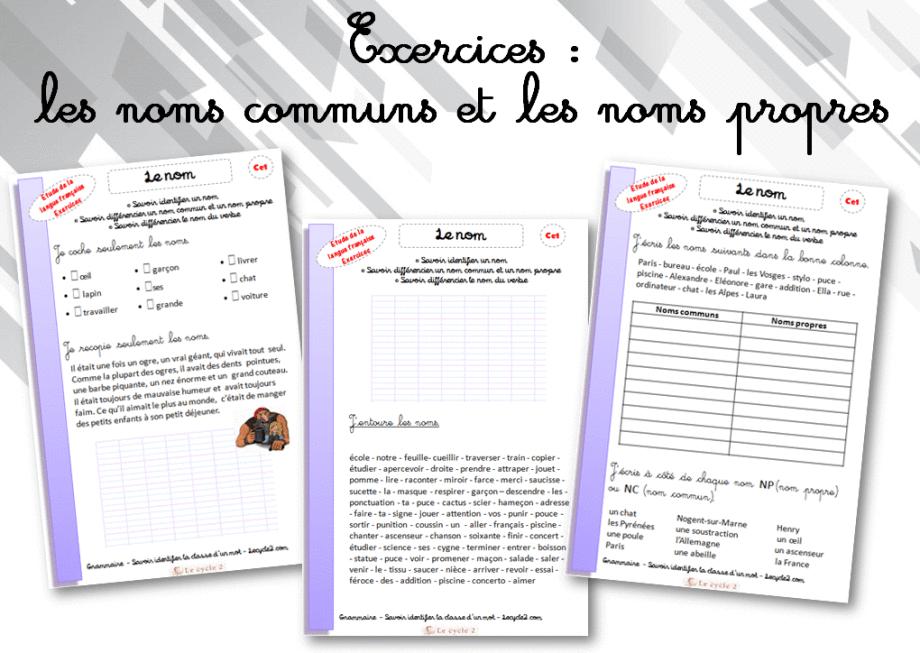 Exercices noms communs noms propres ce1 a imprimer lecycle2 com grammaire les noms communs - Grammaire ce1 a imprimer ...
