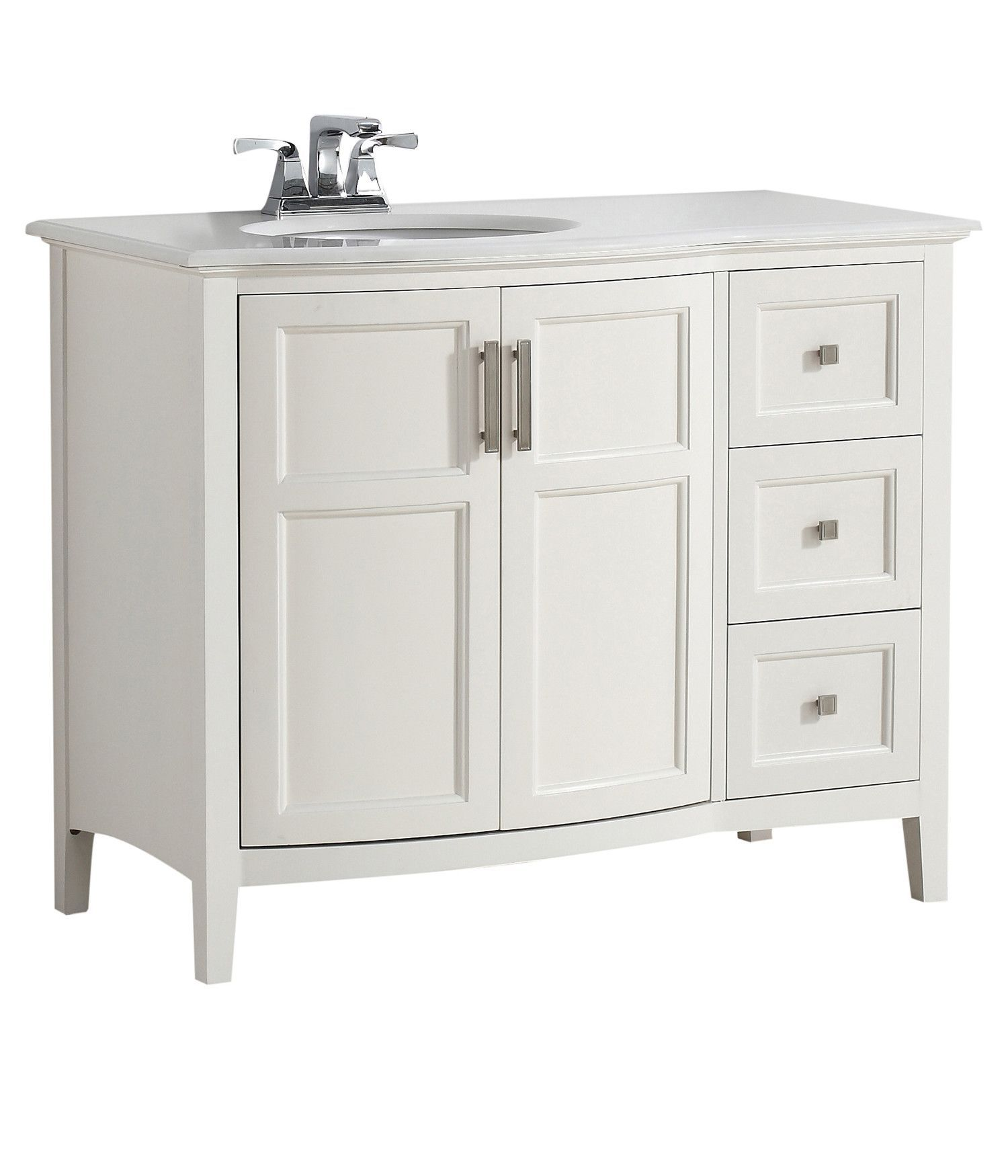 42 inch Winston Soft White Bath Vanity with Rounded Front