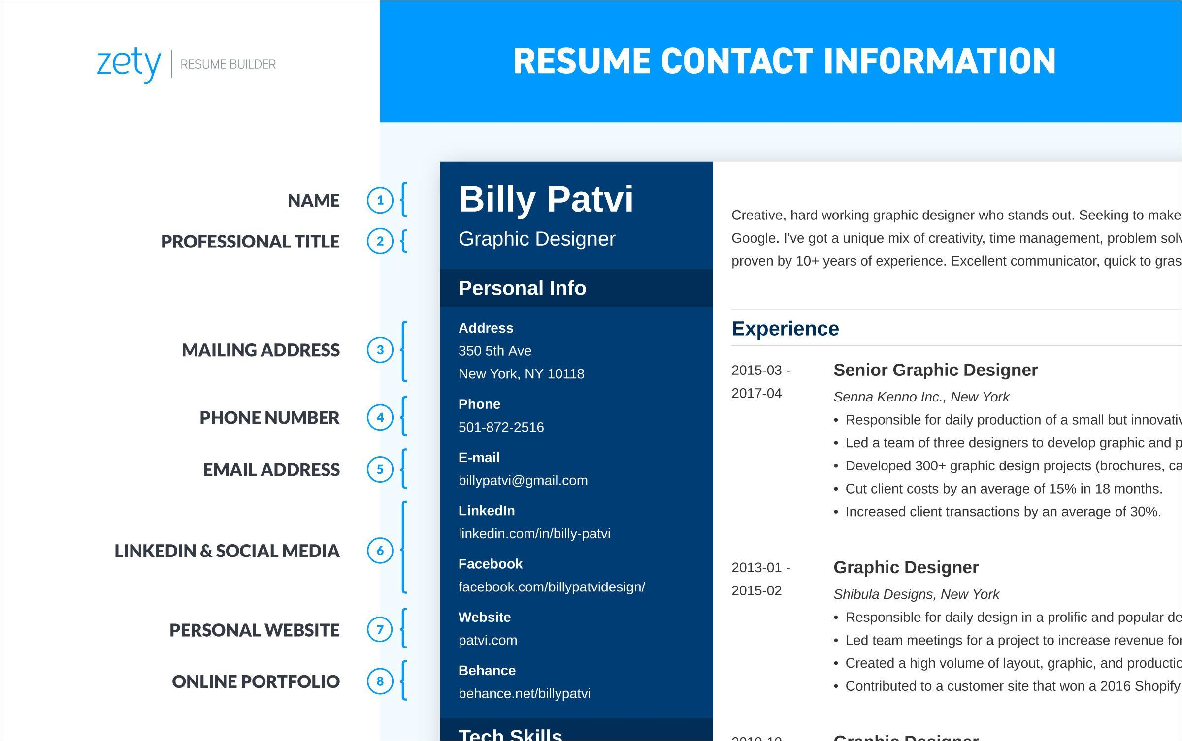 resume contact information and how to include your address
