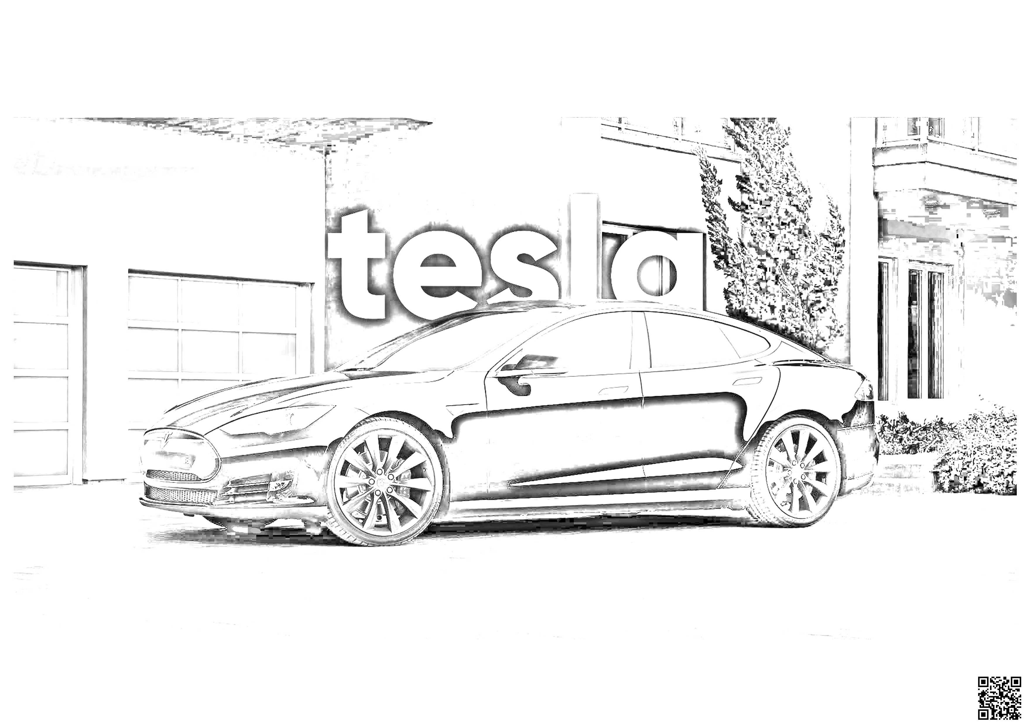 Tesla Model S Coloring Page 1 Tesla Model S Tesla Model Tesla