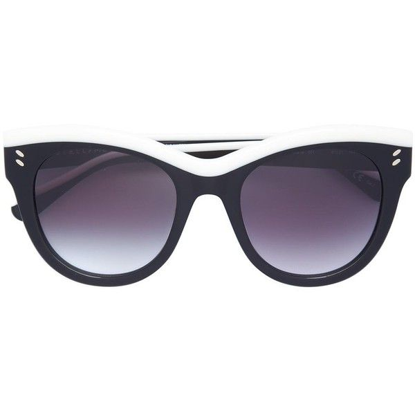 Stella McCartney Two Tone Sunglasses ($400) ❤ liked on Polyvore featuring accessories, eyewear, sunglasses, black, lens glasses, stella mccartney glasses, 2 tone sunglasses, stella mccartney eyewear and two-tone sunglasses