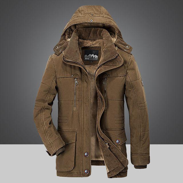 Coats for Men Casual Hoodie Mid-Long Thicken Velvet Cotton Windbreaker Coat Mens Winter Plus Velvet Jacket M-5XL