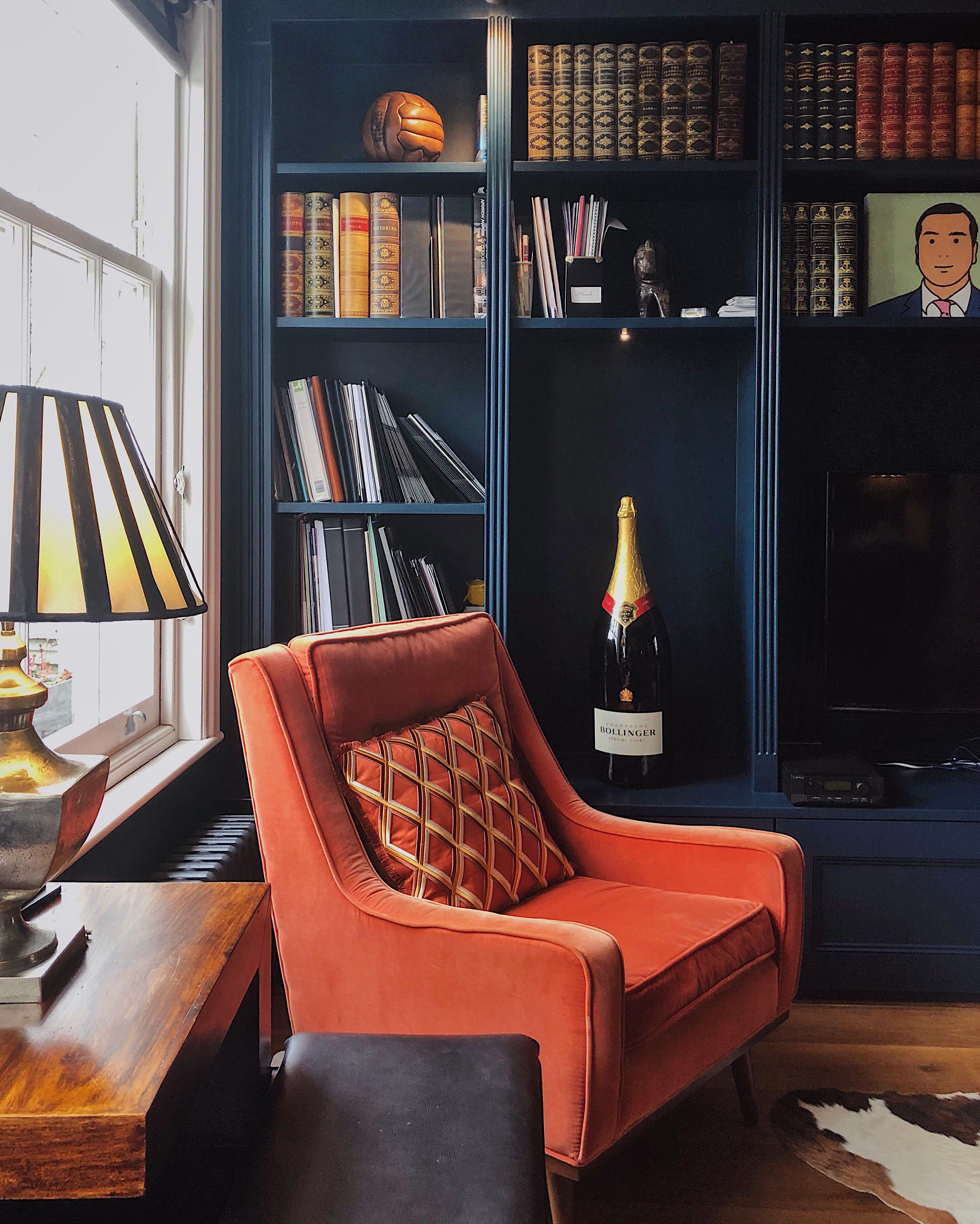 Home Office Club Grown Up Home Office With A Gentleman S Club Vibe Orange Chair