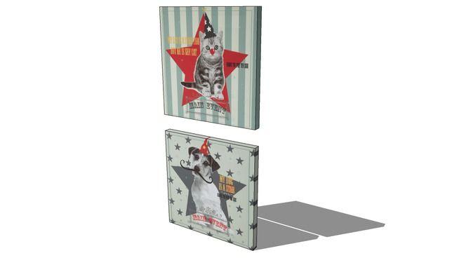 2 toiles Cat and dog, Maisons du monde. Réf: 143130 prix 11,99 € - 3D Warehouse