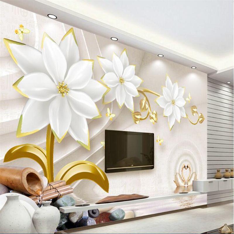 Beibehang Custom Wallpaper Living Room Bedroom Mural Hd 3d Luxury Gold Jewelry Flower Relief Tv Wall Background 3d Wallpaper Mural Wallpaper Mural Flower Mural