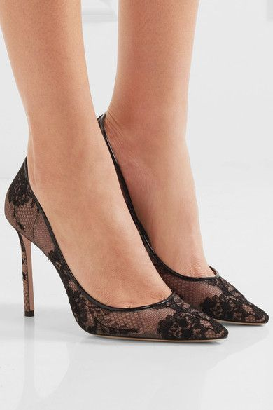 41a36a06d3 Heel measures approximately 100mm/ 4 inches Black lace and leather, beige  mesh Slip on Made in Italy. JIMMY CHOO ...