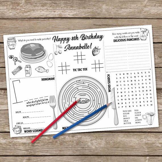 Pancake Coloring Page Pancake And Pajama Party Activity Mat Etsy In 2020 Pancakes And Pajamas Pancake Party Birthday Breakfast Party