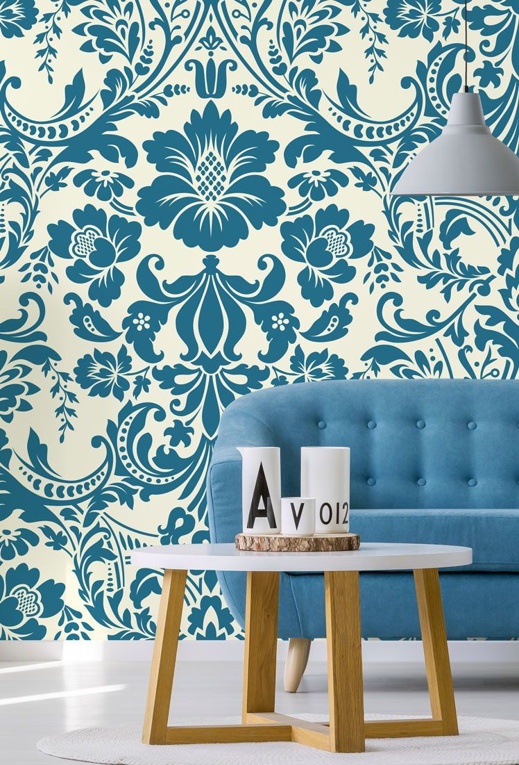 Transform Your Wall With This Ornamental Damascus Wallpaper Featuring A Beautiful Lighter Blue Wallpaper Living Room Vintage Style Wallpaper Floral Wallpaper Blue colour wallpaper for living room