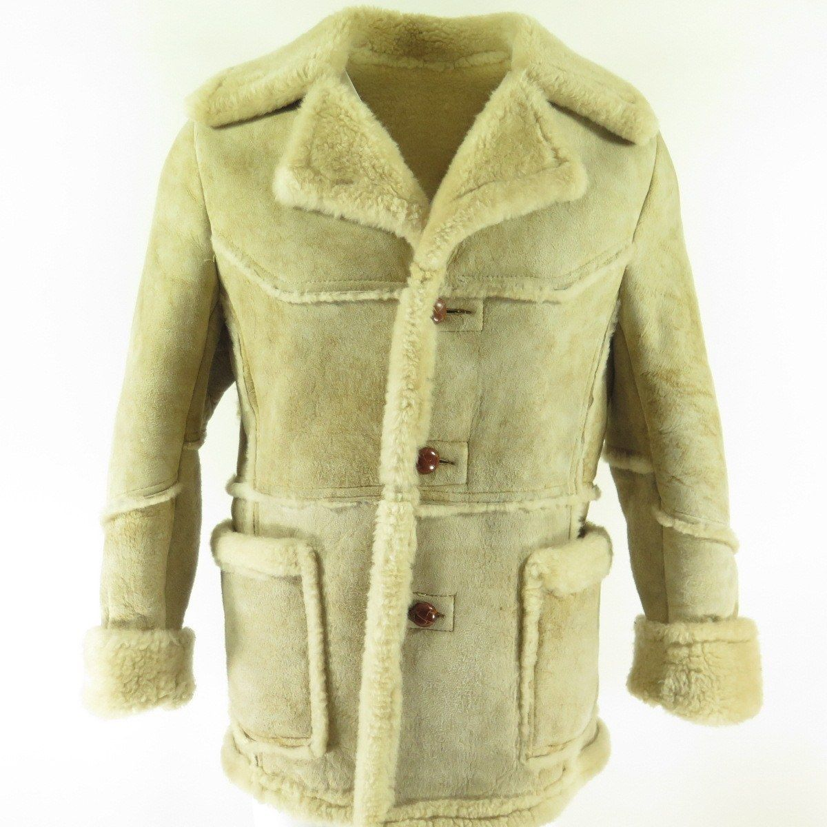 573afc797cd537 Vintage 80s Marlboro Man Shearling Coat Jacket Mens M Sheepskin Western |  eBay
