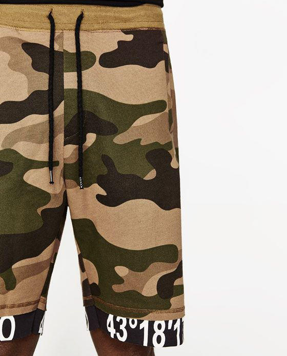 a0e9bf3265 CAMOUFLAGE BERMUDA SHORTS WITH SLOGAN from Zara | rcc | Bermuda ...