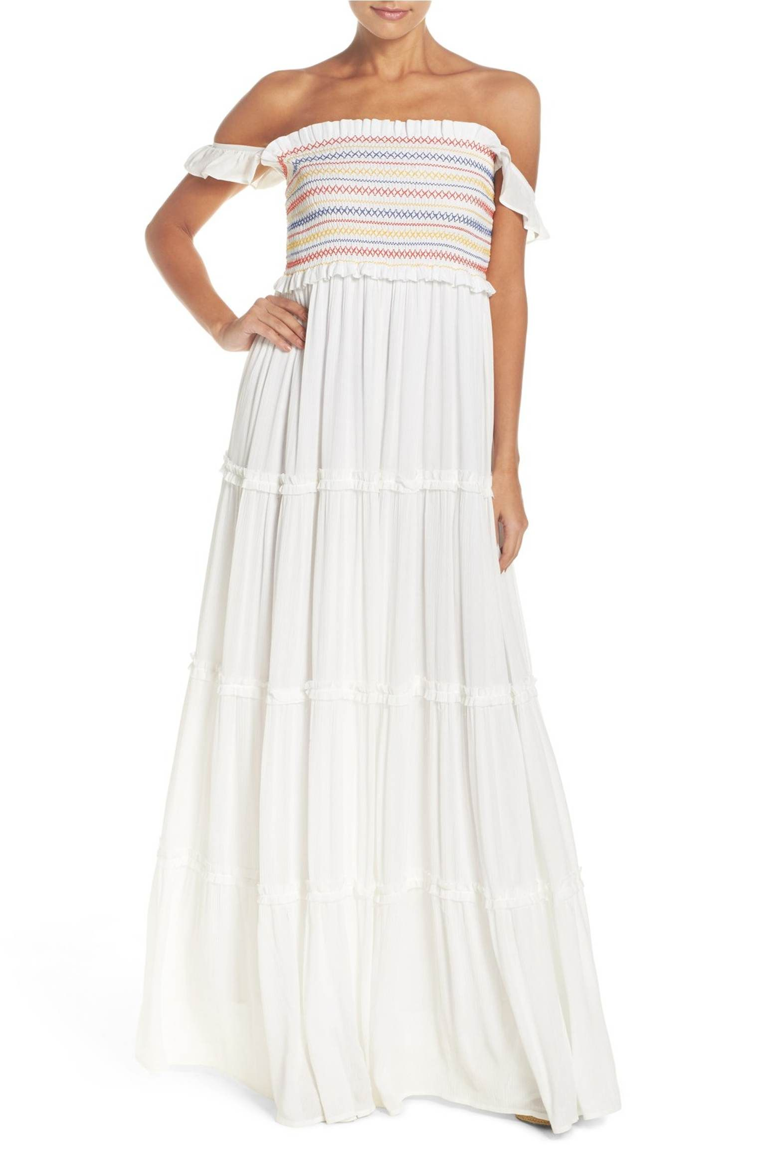 377758df5a Main Image - Tory Burch Smocked Cover-Up Maxi Dress