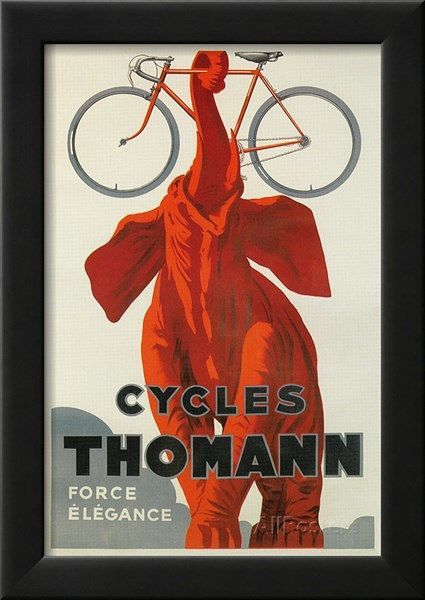 Cycles Thomann, Red Elephant Holding Bike Posters at AllPosters.com