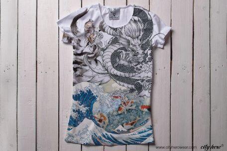 """ASIA"" #cityhero #tee #teeshirt #tshirt #asia #hokusai #dragon #elements #print #stylish #forher"
