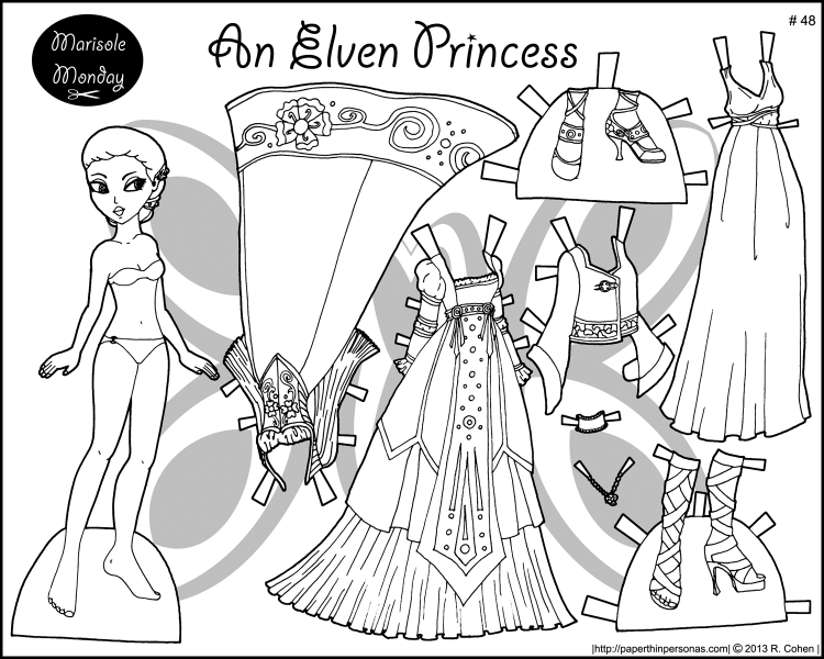Four Princess Coloring Pages To Print Dress Paper Dolls