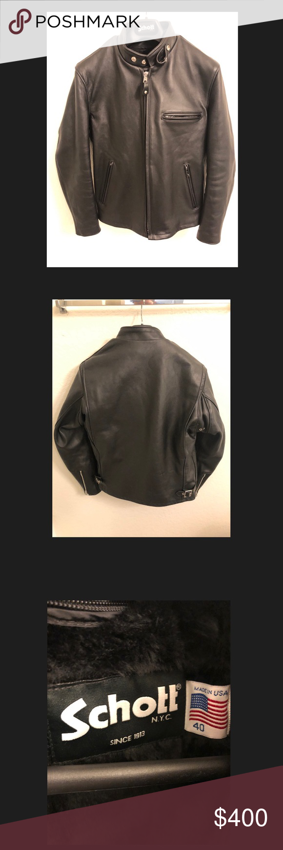 Schott 641 Size 40 Single Rider Steerhide Leather Jacket Used It Handful Of Times Retail Price 750 Schott Nyc Jacket Clothes Design Leather Jacket Mens Tops [ 1740 x 580 Pixel ]