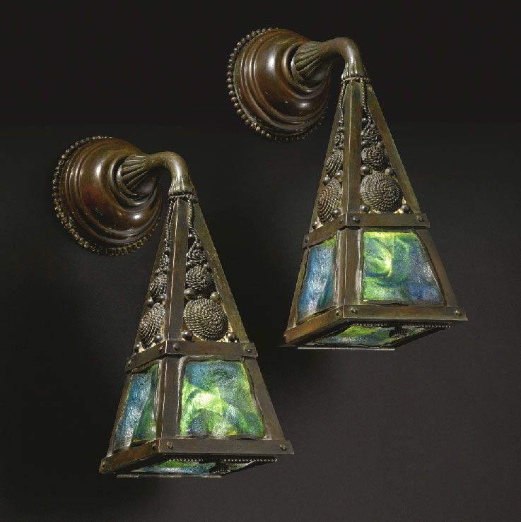 Louis Comfort Tiffany 1848 1933 Arts And Crafts Wall Sconces Bronze And Glass Circa 1900 Antique Tiffany Tiffany Art Arts Crafts Style