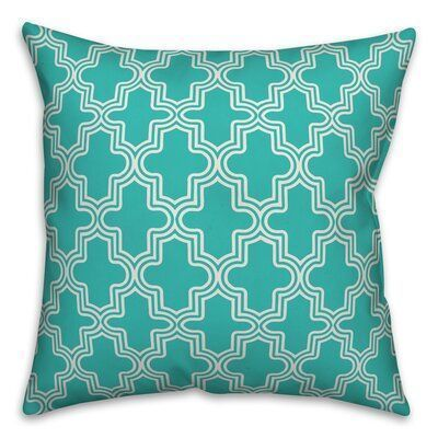 Charlton Home Hanish Boho Quatrefoil Indoor/Outdoor Throw Pillow Colour: Off White/Teal, Size