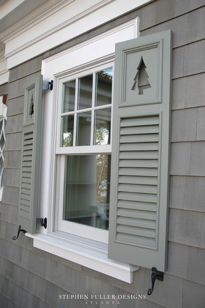 These Are Combination Cutout And Louvered Shutters This Designer Has Picked A Shutter Color That S Shutters Exterior Cottage Shutters Window Shutters Exterior