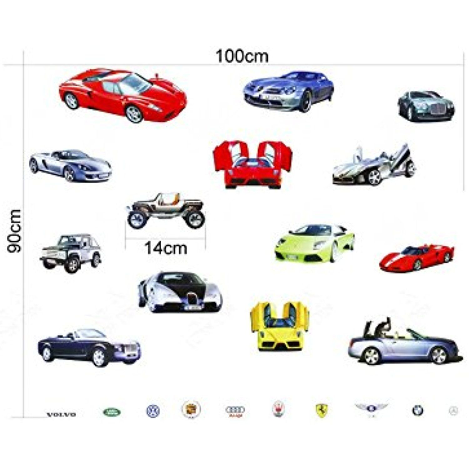 Wall Sticker Decal 14 Sports And Luxury Car Series Kids Bedroom And Kindergarten Mural Home Decor Diy Plastic Self Adhe Wall Stickers Murals Wall Sticker Mural [ 1500 x 1500 Pixel ]
