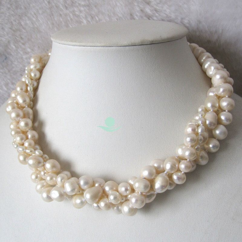 Pearl Necklace - 18 inches 4-10mm 4 Row White Freshwater Pearl Necklace - Free Shipping by Girlslovepearls on Etsy https://www.etsy.com/listing/78215601/pearl-necklace-18-inches-4-10mm-4-row