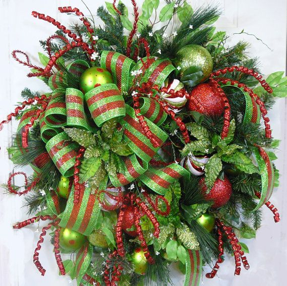 XL One of a Kind Spectacular Christmas Door Wreath with Deco Mesh by LadybugWreaths