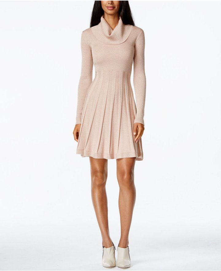 8156cc7d558 Calvin Klein Cowl-Neck Fit  amp  Flare Sweater Dress - dress for pear  bodyshape