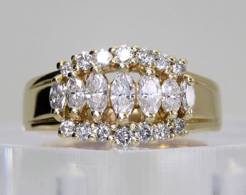 Diamond band ring wedding anniversary 14k yellow gold round marquise