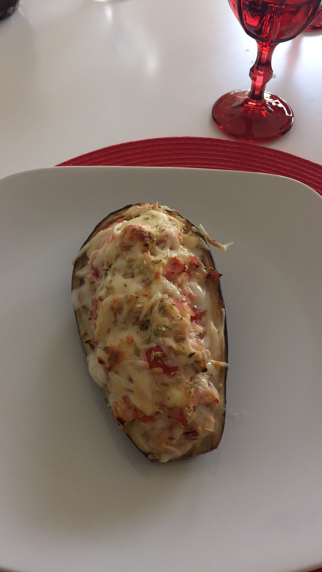 Eggplant stuffed with chicken and vegetables!
