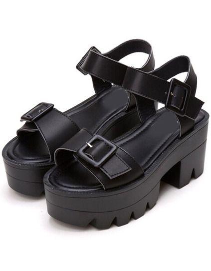 Black Buckle Strap Platform Sandals   Buffy Summers   Black