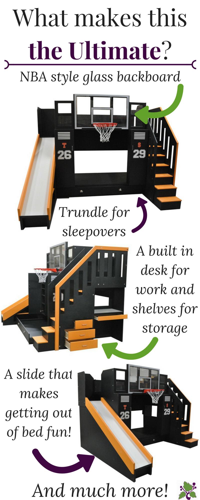 The Ultimate Basketball Bunk Bed Backboard Slide And More Basketball Room Basketball Bedroom Boys Bedrooms