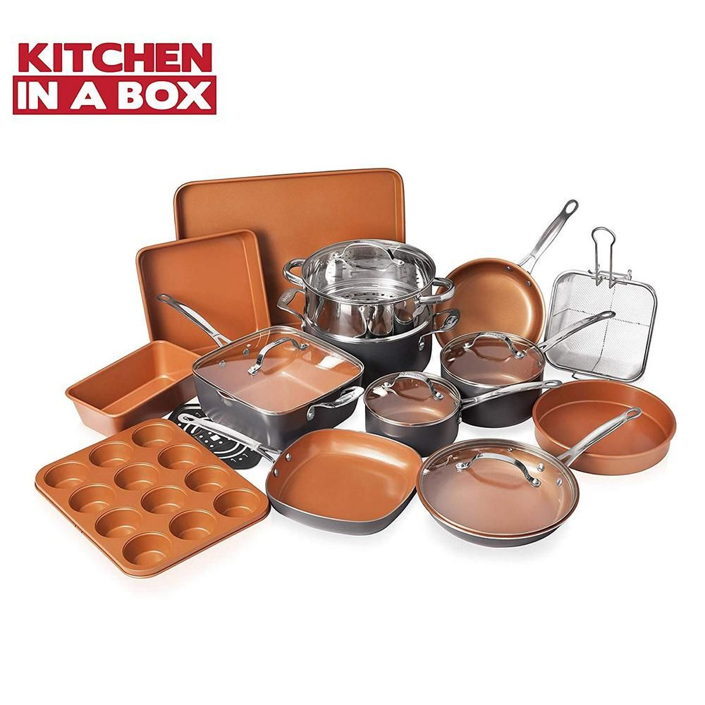 Gotham Steel 20 Piece Aluminum Non Stick Ti Ceramic Cookware Set