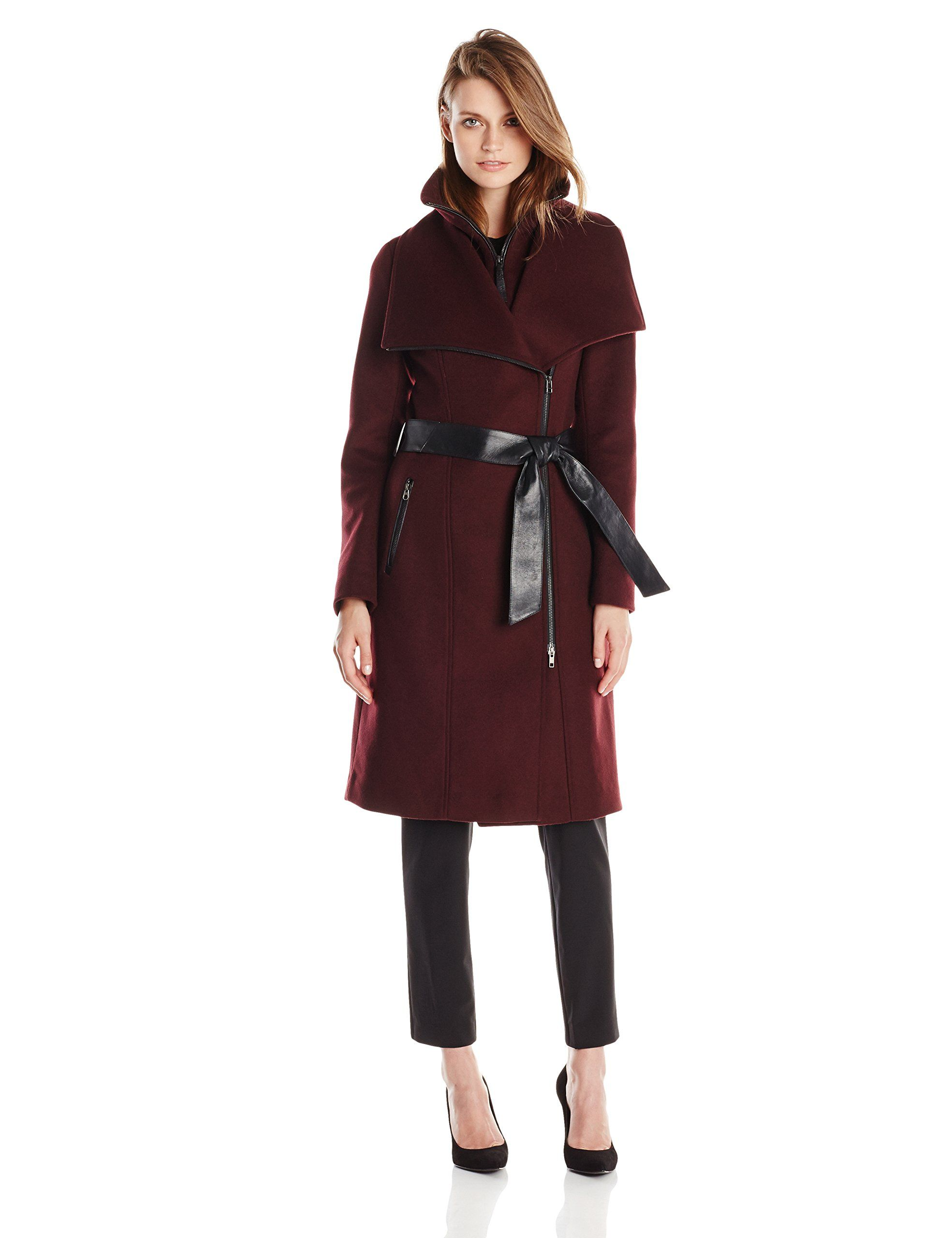 Amazon.com: Mackage Women's Nori Belted Wool-Blend Coat with Leather Trim: Clothing