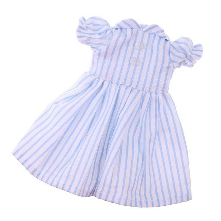 293b7ac54f80 Puppen Kleidung Kleid Sommerkleid hellblau gestreift für 25 cm ...