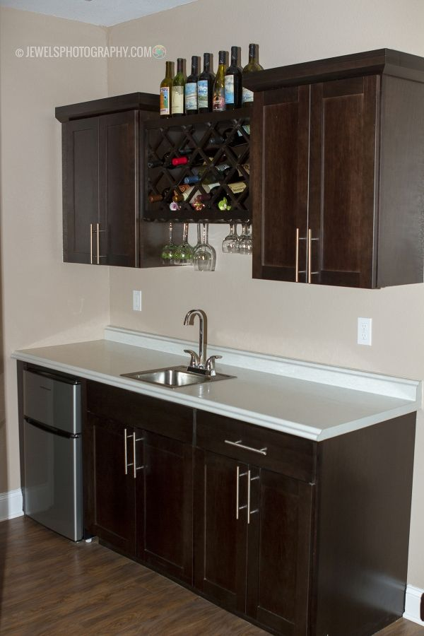 Perfect Size 6 Ft Bar With Wine Rack Espresso Cabinets And Sink Wet Bar Wet Bars Espresso Cabinets Knoxville Wedding Photographer