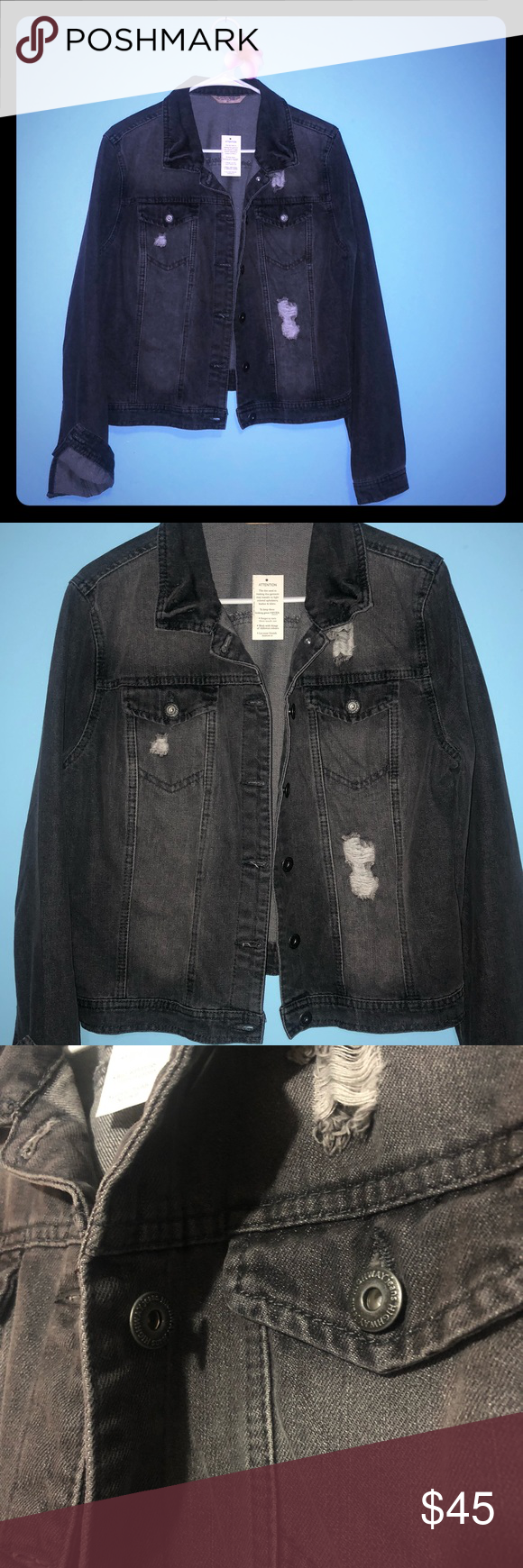 Dark Gray Distressed Denim Jacket Juniors Xl New With Tags Partially One Tag Is Attached But Price Denim Jacket Grey Ripped Jeans Distressed Denim Jacket [ 1740 x 580 Pixel ]