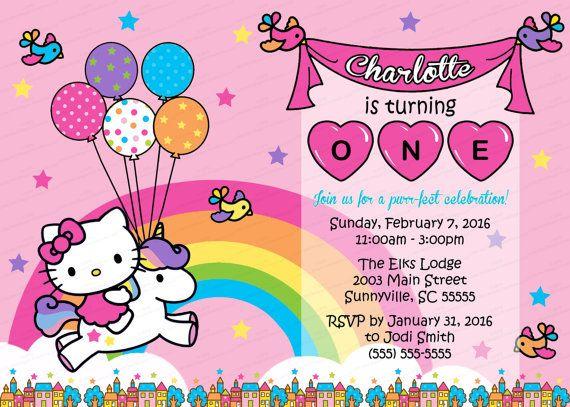 0b7b3bdc6892 Pink Hello Kitty Unicorn Party Invitation - 5 x 7 Customized - I Design