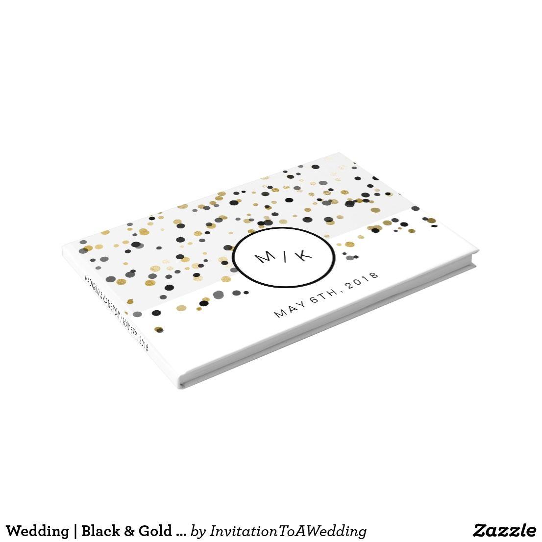 Wedding decorations list september 2018 Wedding  Black u Gold Polka Dots Modern Monogram Guest Book