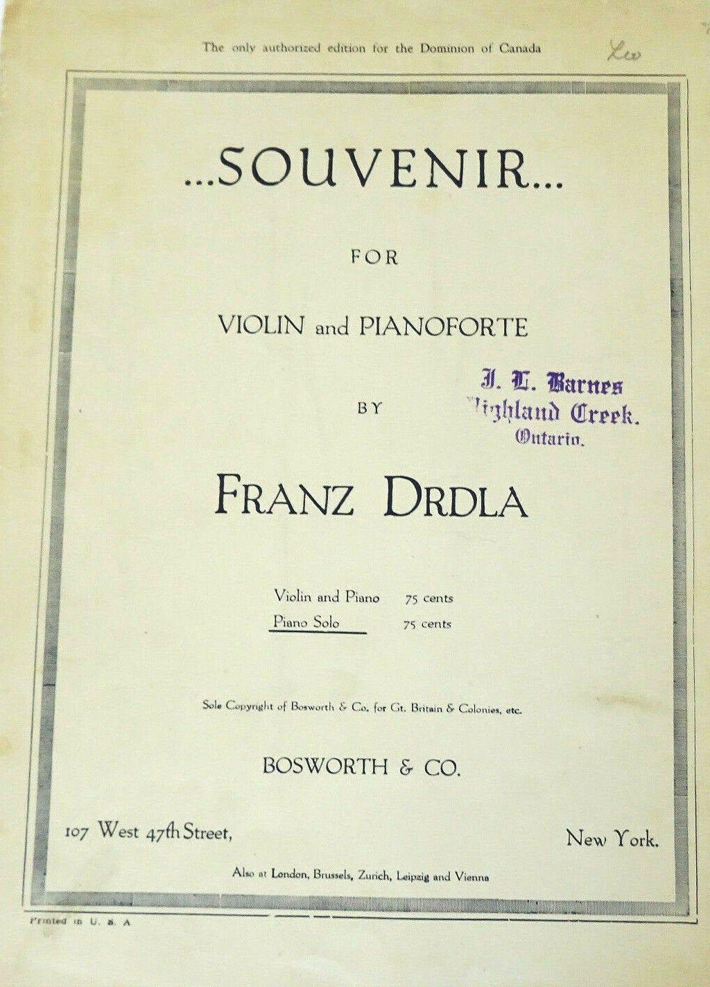 Souvenir by Franz Drdla Piano Solo Vintage Sheet Music 1921 #vintagesheetmusic