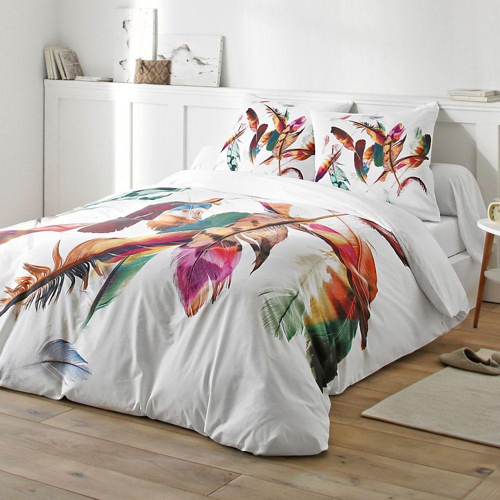 Linge De Lit Plumes 100 Coton Tres Inspiree Pour Des Nuits De Reve Dream Bedroom Deco Home Blancheporte Parure De Lit Linge De Lit Lit Design