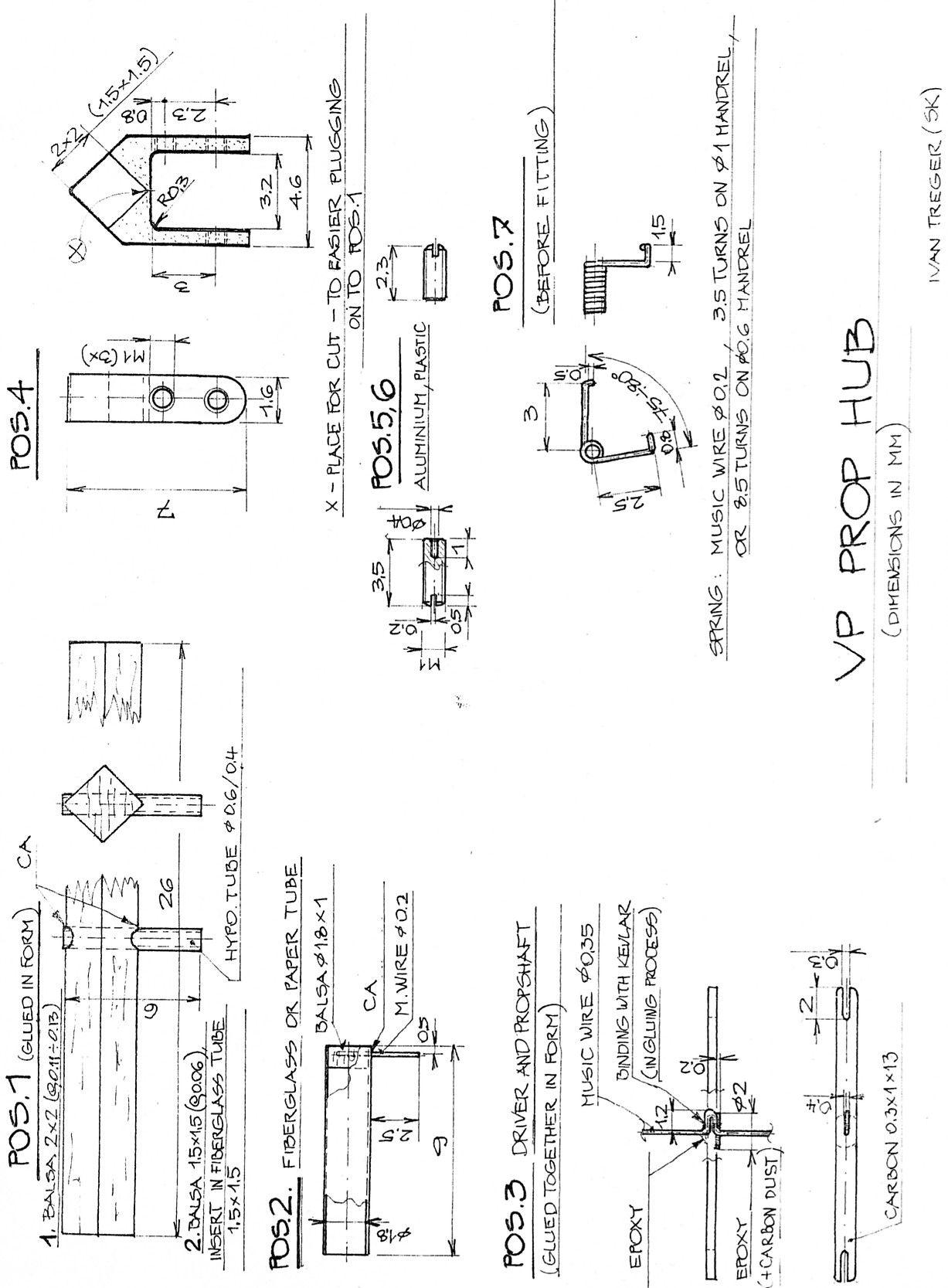 Plan of Ivan Treger's 0.6 gram rubber F1D Variable Pitch