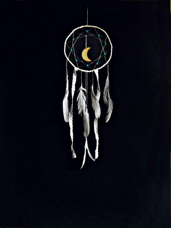 bohemian dreamcatcher white  hanging moon white by wincsike