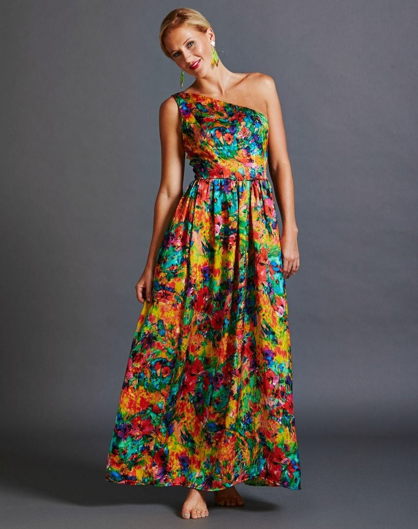 Sunrise Floral One Shoulder Gown | Rent Frock Repeat | Pinterest ...