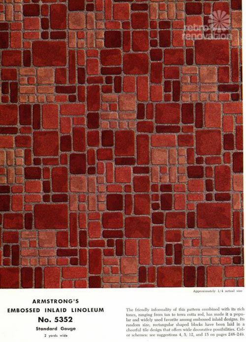 Armstrong 5352 Embossed Inlaid Linoleum The Most Popular Resilient Floor Ever Retro Renovation Linoleum Resilient Flooring